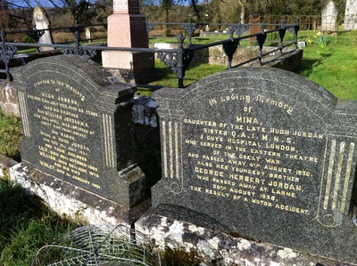 Photo, Mina Jordan's headstone at St Andrew's, Scotshouse, Co. Monaghan