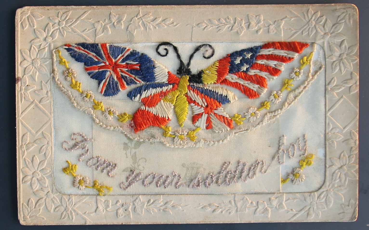 Embroidered card, featuring beautifully designed butterfly